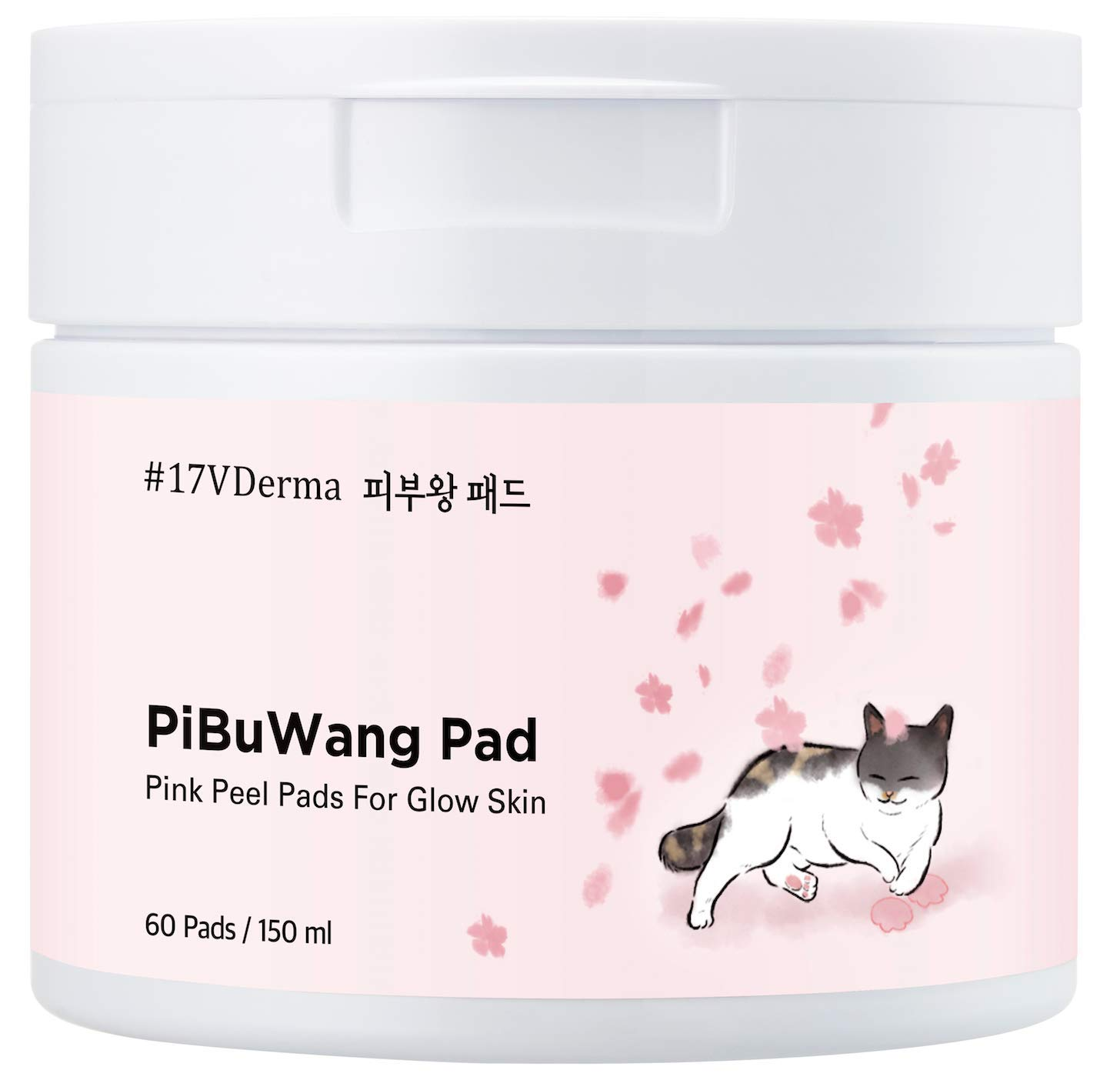 17VDerma Korean Skin Treatment Face Toner | Peel Pads with No Irritation Formula | Premium K Beauty Pibuwang Vegan Facial Care Pink Pads with PHA 60 ct. 150ml by #17VDerma