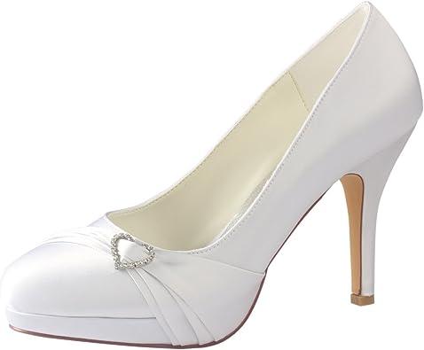 Emily Bridal White Wedding Shoes Round