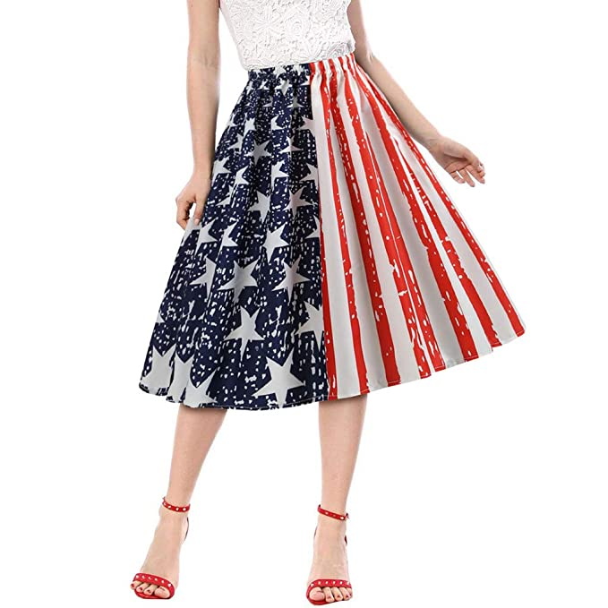 fedaf928b CHLZYD Women Fashion American Flag Print Evening Party Prom Swing Elastic  Band Skirt Red