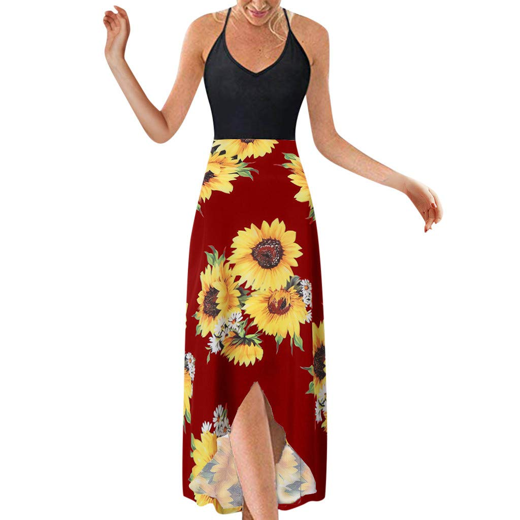 Women's V Neck Floral Dresses Sengei  Spaghetti Strap Summer Asymmetrical Patchwork Dress (L, Red)