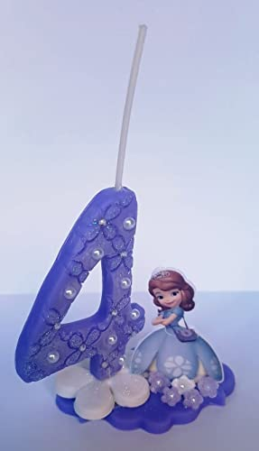 Vela decorada porcelana fría Inspirada en Princesa Sofia Cumpleaños tarta