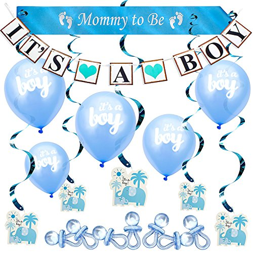 babyparty deko junge blau baby shower party dekorations On babyparty deko set junge