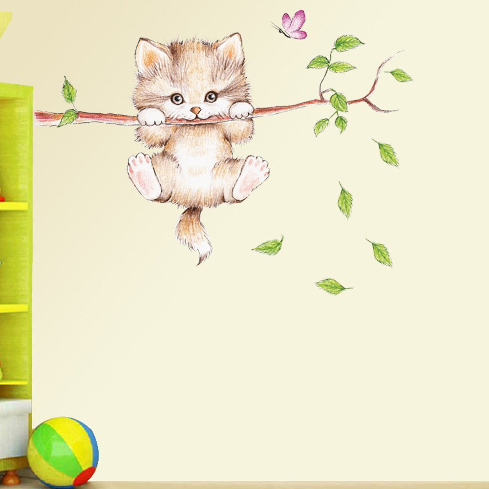 Elegant Amaonm Cartoon Cute Cat On The Tree Branches Wall Decals Removable Kitty Wall  Stickers Decor Girls Bedroom Decal Kids Nursery Sticker Bathroom Wall Art  ...