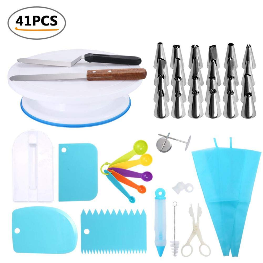 Piping Bags - 41PCS Decorating Tip Set Cake Pastry DIY Baking Tools Silicone Icing Piping Bag Stainless Steel Nozzles Spatula Edge Smoother