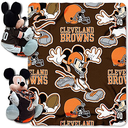 The Northwest Company Officially Licensed NFL Cleveland Browns Co Disney's Mickey Hugger and Fleece Throw Blanket Set