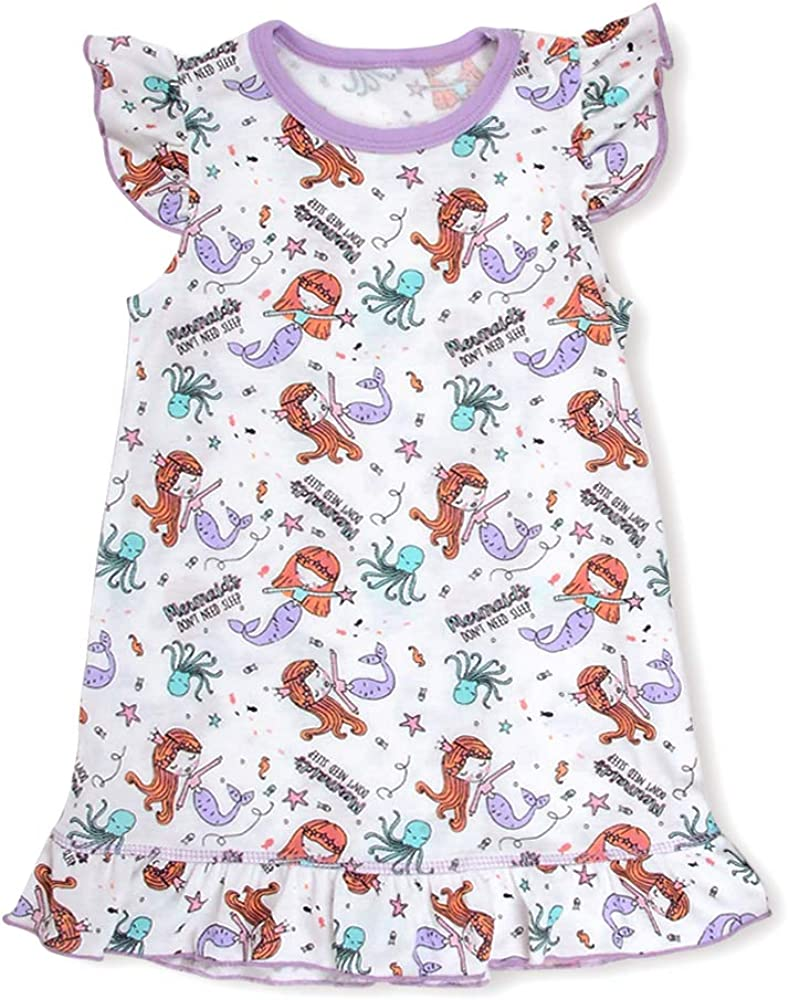 Unicorn Mermaid Polar Bear Nightdress Short//Long Sleeves Pyjamas Night Dress Nightgowns Sleepwear for Kids 2-11 Years Girls Nighties