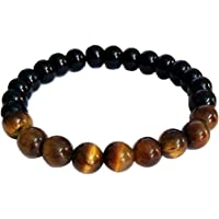 RICH AND FAMOUS Multicolour Crystal Tiger Eyes Bracelet for Men and Women