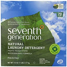 Seventh Generation Free and Clear Natural Laundry Detergent Powder, 112 Ounce -- 4 per case.