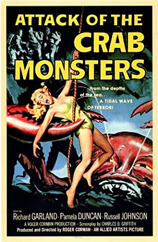 Old Tin Sign Attack Of The Crab Monsters 1957 Classic Vintage Movie Poster MADE IN THE USA (Classic Scary Movie Posters)