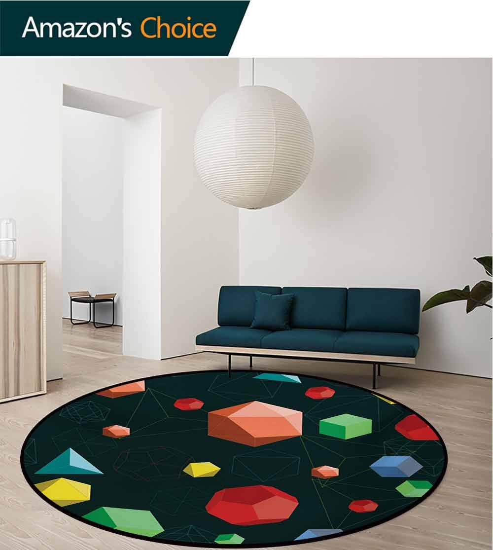 RUGSMAT Geometric Computer Chair Floor Mat,Geometric 3D Styled Shapes in Vivid Colors Icosahedron Tetrahedron and Octahedron Printed Round Carpet for Children Bedroom Play Tent,Diameter-47 Inch