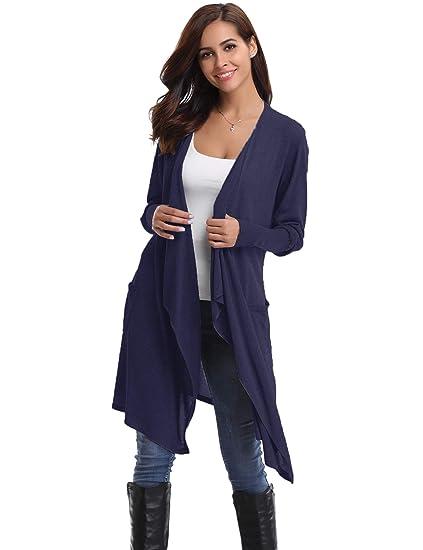 7b2d7a904d Gilet Long Femme Cardigan Asymetrique Laine Drapé Veste Longue Femme  Manches Longues Ouvert avec Poches Tailleur
