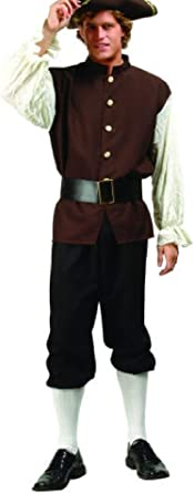 ADULT COLONIAL MENS COSTUME JOHN ADAMS US HISTORY PLAY W// TRI-CORNER HAT BROWN