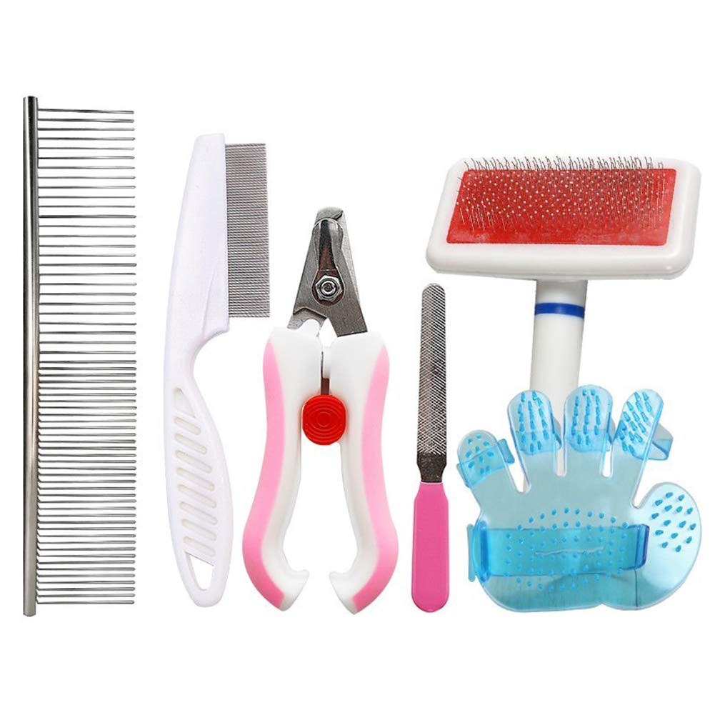LTLHXM Pet Grooming Tool Five-Piece Suit Dog Nail Clippers,Hair Removal Bath Gloves,Combs3 Pet Grooming Tool for Dogs and Cats