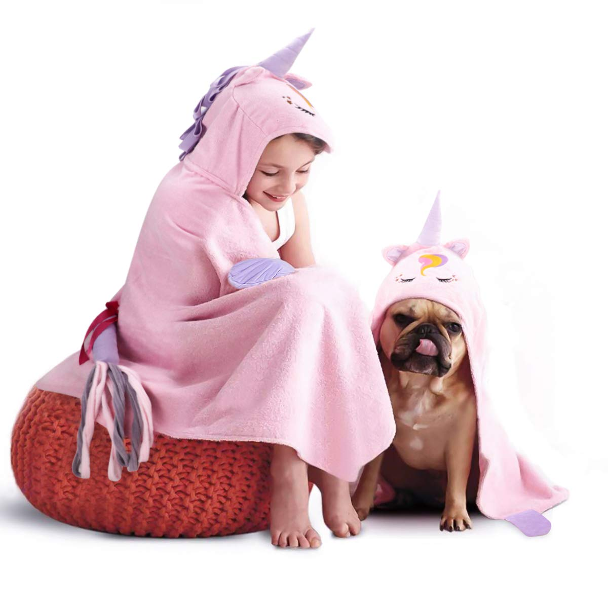 FamFun Baby Unicorn Hooded Beach Towel - Toddler/Kids Bath Towels with Hood - Soft, Absorbent & Comforting for Girls, Large 47'' x 27'' | Great Present for Children Age 2-10 by FamFun Baby