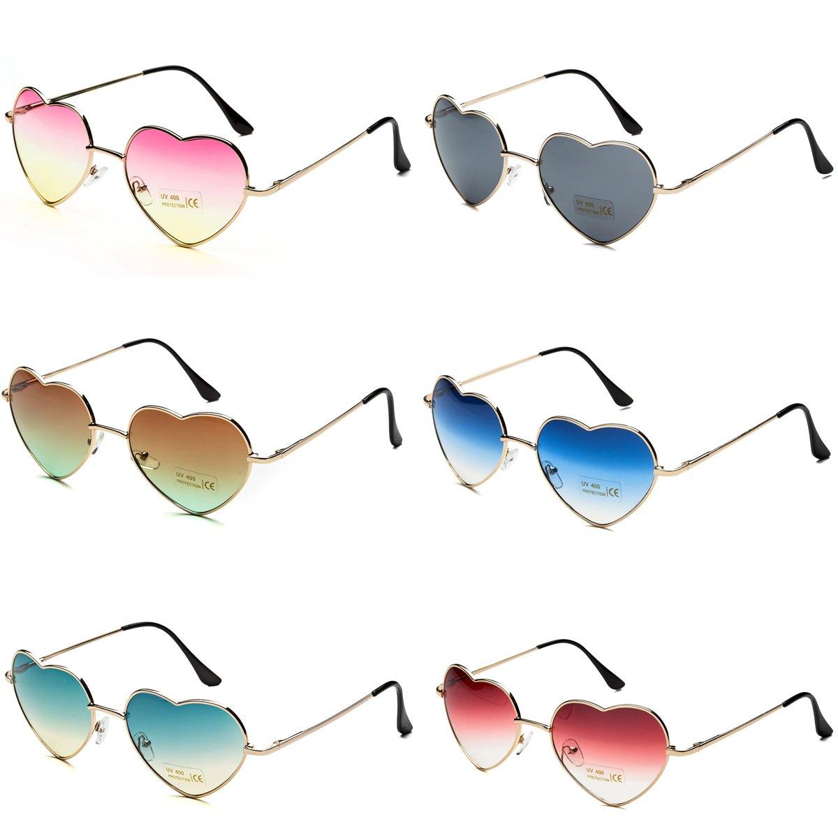 Dollger Sunglasses Pack Heart Shape Sunglasses Aviator Style for Women (Set of 6)