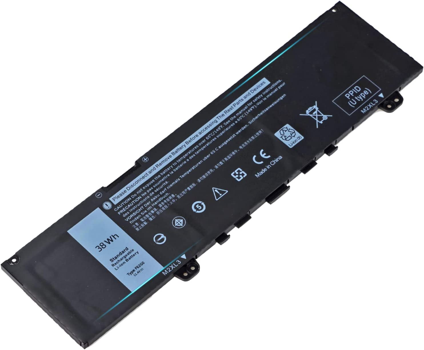 38Wh F62G0 Battery for Dell Inspiron 13 7000 7373 7386 2-in-1 7370 7380 5370 P83G P87G P91G P83G001 P83G002 P87G001 Replacement with Vostro 13 5370 039DY5 0F62G0 RPJC3 0RPJC3 F62GO-11.4V