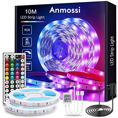 Anmossi LED Strip Lights 10m(32.8Ft),RGB Colour Changing Strip Light with Remote,Bright 5050 LEDs Rope Light Strips Kit,Multi-Colour LED Lights for Bedroom,Home,Kitchen,Christmas Decoration
