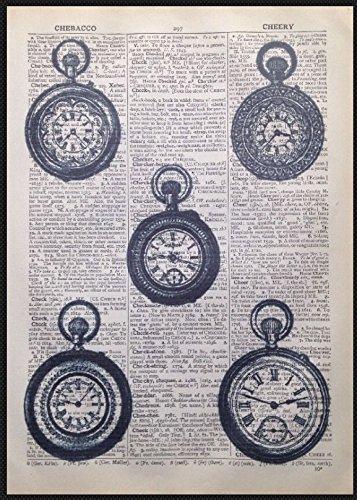 Vintage Relojes Steampunk de impresión de Lienzo Alicia en el país de las maravillas en página de diccionario: Amazon.es: Hogar