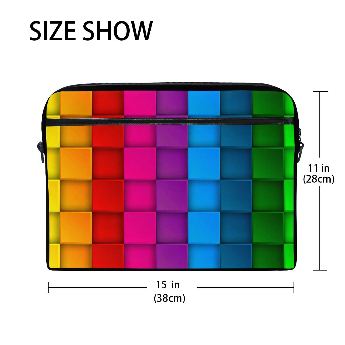 f13055dbc137 Amazon.com: IMOBABY Colorful Neon Contrast Rainbow Laptop Bag Canvas ...
