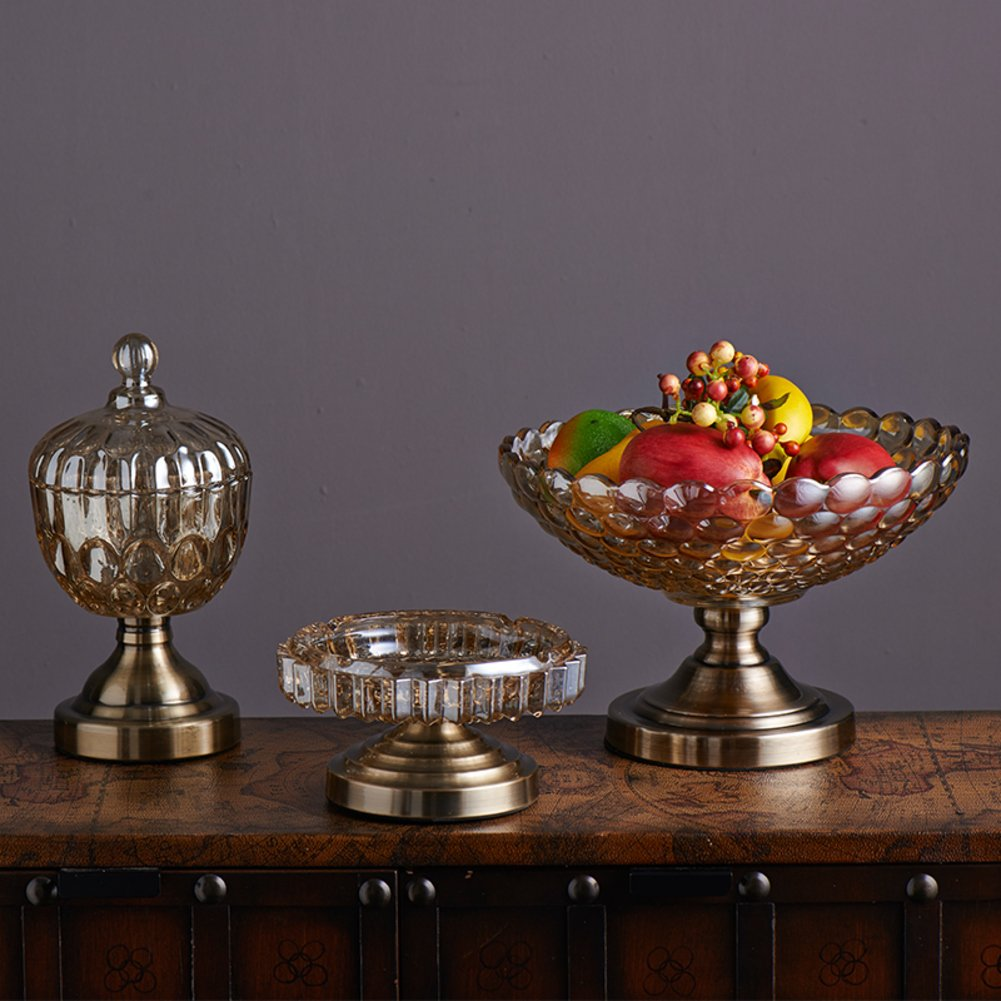 Frutero de cristal [tanque de almacenamiento de Cenicero] Tecnología Three-Piece y bote cenicero decoración minimalista moderna-A Goodbrand