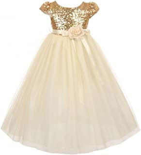 Dreamer P Girls Dress Cap Sleeve Sequin Bodice Flower Pageant Party Flower Girl Dress