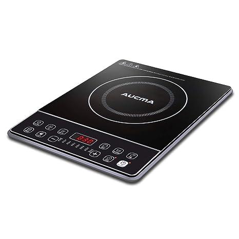 AUCMA Cocina de inducción Placa de inducción portátil Placa de cocción eléctrica de 2000W Cooktop Cooktop 240 ℃ con temporizador de 24 horas y ...