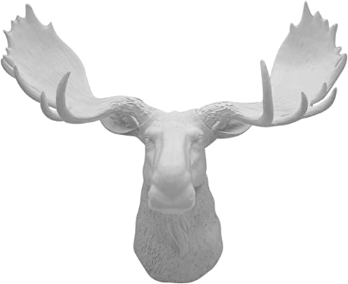 White North American Moose Head Bust
