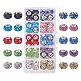 PH PandaHall 1 Box 40 Pieces 10 Color 15x10mm Resin Pave Grade A Rhinestone European Beads with Silver Color Brass Double Cores Large Hole Rondelle Beads