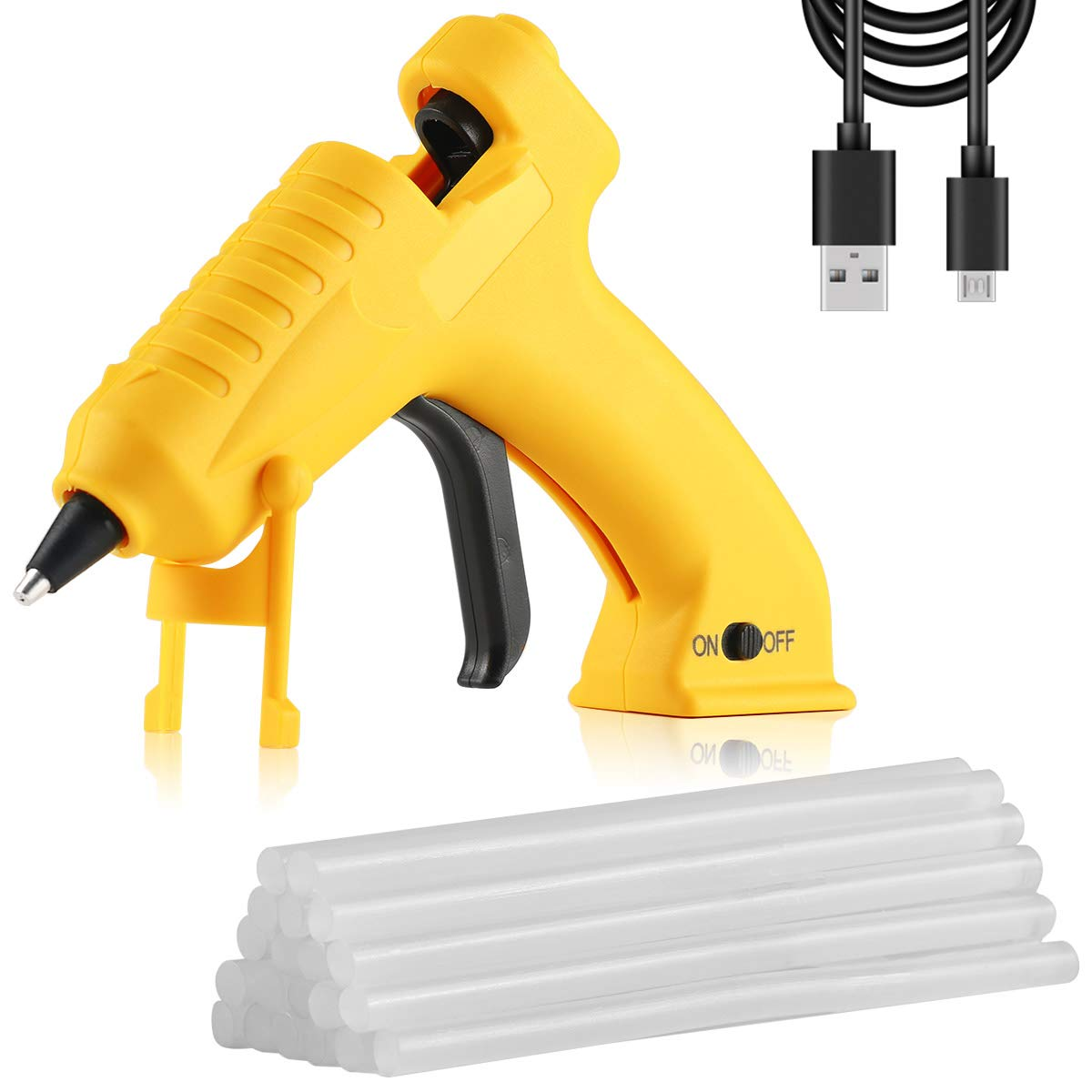 Hot Glue Gun Cordless with 20pcs Glue Sticks(7mm X 150mm),Recharge Portable USB Mini Glue Gun Kit for DIY,Craft, Arts & Home and Quick Repairs AONOKOY