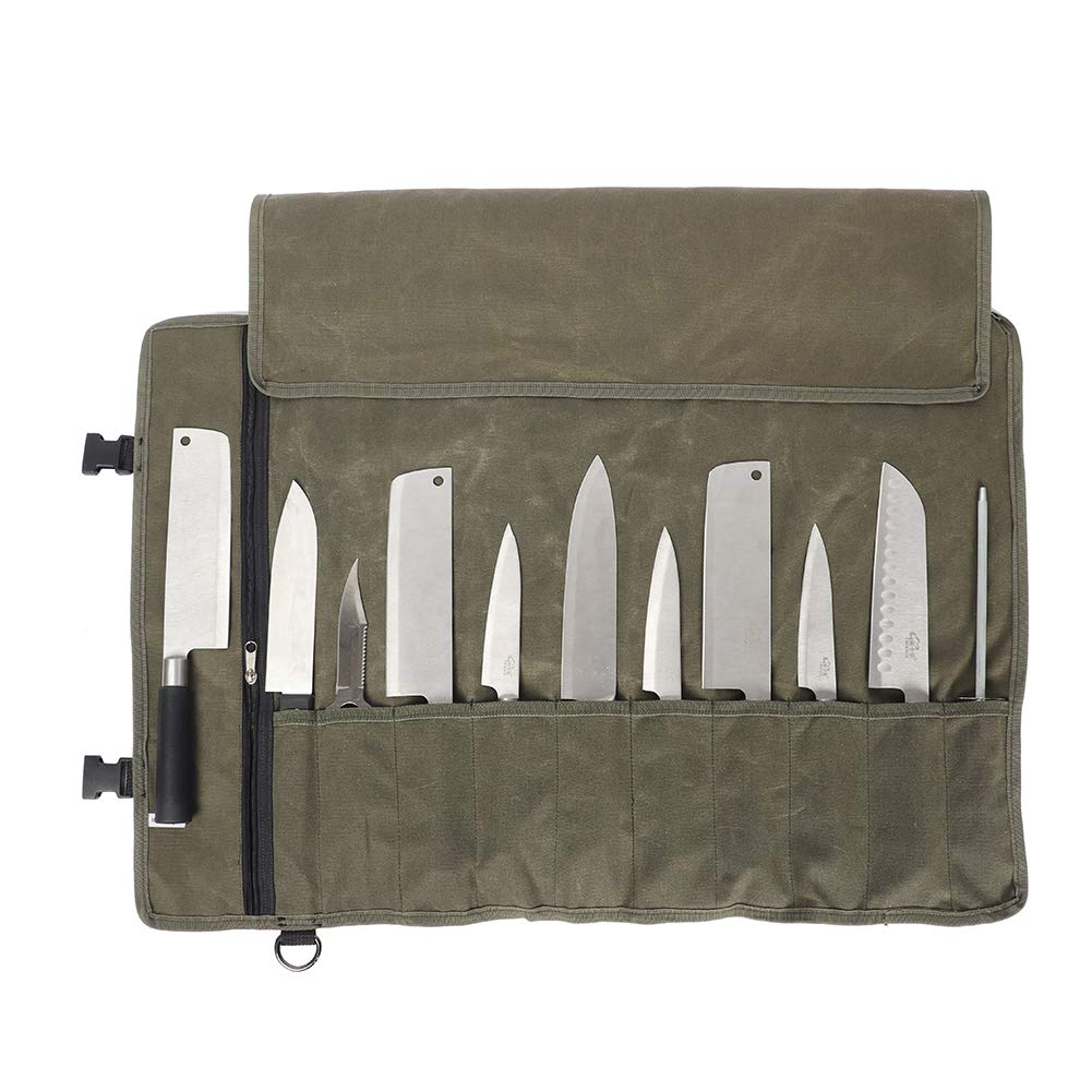 Large Knife Bag(11 Slots), Tool Pouch for Chef's, Heavy Duty Waxed Canvas Knife Roll, Portable Travel Tool Roll Pouch for Meat Cleaver, Knife Sharpener, Gift for Men(Army Green) by QEES