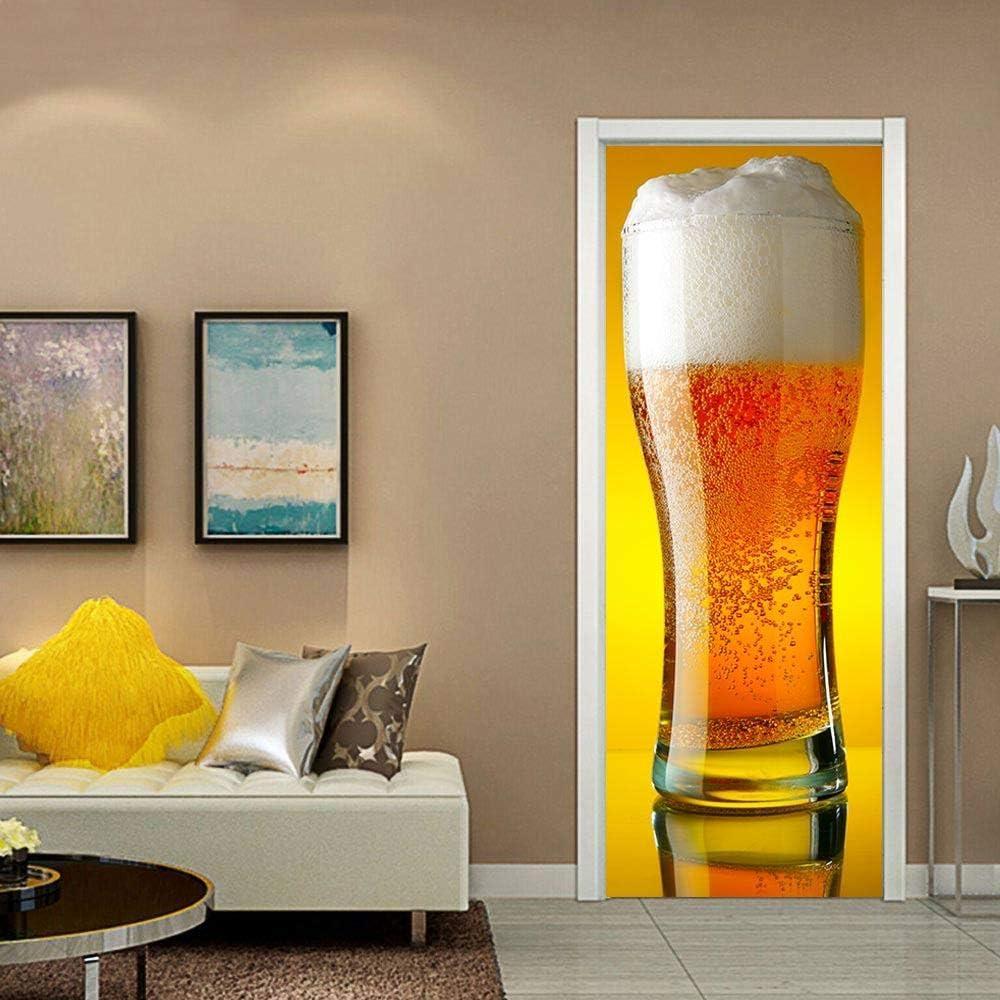 Etiqueta De La Puerta 3D Impermeable Extraíble Murales De Papel Decorativos De Estar Dormitorio Utoadhesivo A Prueba Agua Para Jarra De Cerveza Gigante