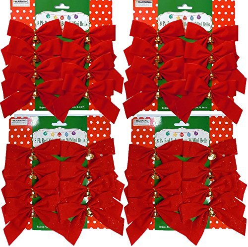 8, 16, or 32 Small 4''x5'' Red Christmas Bows with Metal Bells (16 with Glitter and 16 Without Glitter) by Regent