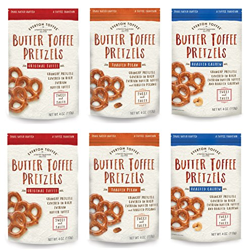 Everton Toffee Butter Toffee Pretzels, Variety Pack (4 oz. bag, 6-pack). Gourmet Artisan Toffee Covered Pretzels, Sweet and Salty Mini Pretzel Snacks, Small Batch Crafted (Toffee Pretzel)
