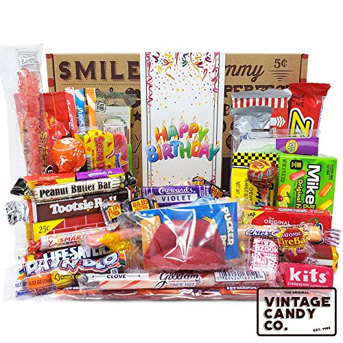 (VINTAGE CANDY CO. HAPPY BIRTHDAY NOSTALGIA YEARS CANDY CARE PACKAGE - Retro Candies Assortment Variety - GAG GIFT BASKET - PERFECT For Adults, College Student, Military, Teens, Man, Woman, Boy or Girl)