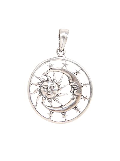 Buy silverwala 925 sterling silver sun and moon face oxidised silverwala 925 sterling silver sun and moon face oxidised pendant for men and women mozeypictures Images