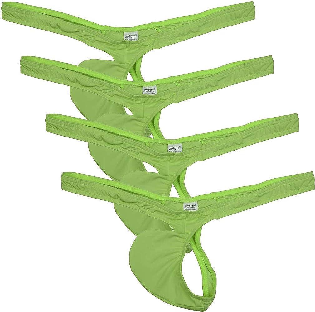 Men Sissy Narrow Front Bikini Underwear Thongs Nylon Geometric Everyday G-string