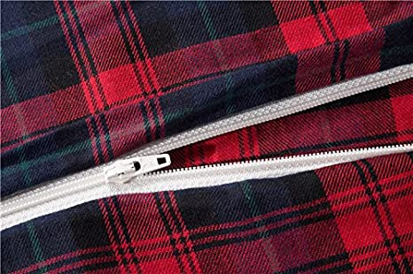 Queen, Dark Red-ED COMIN16JU034507 Deep Sleep Home 100/% Cotton Flannel Fabric 300 Thread Count Percale Dark Red Blue Plaid Design 4pc Duvet Cover Set Christmas Gift Wrinkle Resistance Full//Queen Size