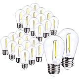 Jslinter 25-Pack S14 1W Outdoor String Lights Bulbs LED, Shatterproof & Waterproof, UL Listed, 2700K Soft White, 11W…