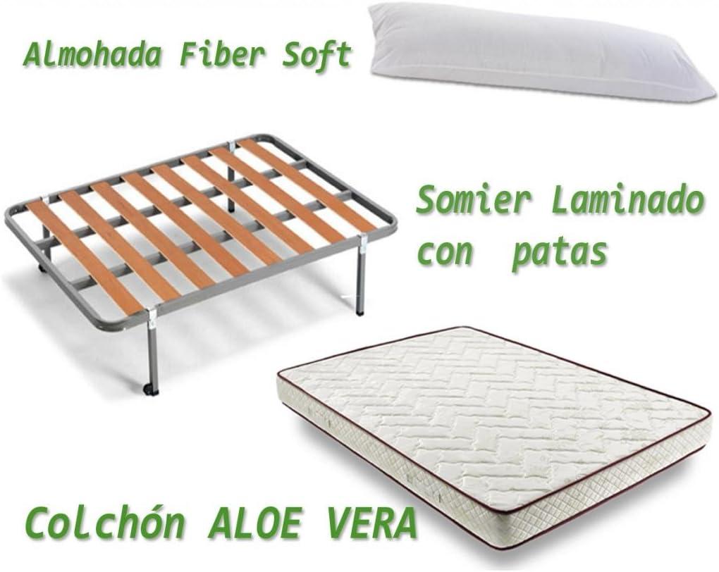 HOGAR24 - Aloe Vera + somier Basic + Almohada Fibra Fibra, Medidas 135x190: Amazon.es: Juguetes y juegos