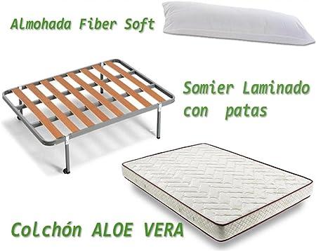 HOGAR24 - Aloe Vera + somier Basic + Almohada Fibra Fibra, Medidas ...