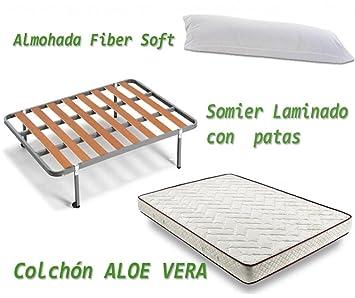 HOGAR24 ES Colchón Visco-Aloe + Somier Basic + Almohada De Fibra, 135x190 cm: Amazon.es: Juguetes y juegos