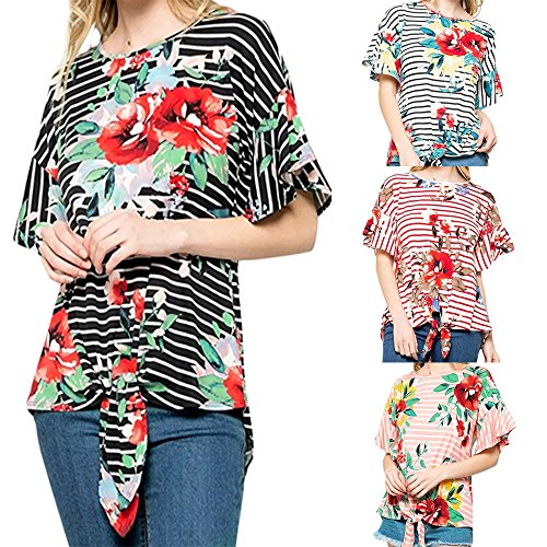 vermers New Women Tops Ladies Stripe Floral Bow Printing T-Shirt Short Sleeve Blouse (S, Red)