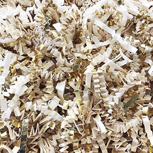 Black Cat Avenue 2 LB Ivory & Gold Crinkle Cut Paper Shred Filler for Gift Wrap and Basket Filler