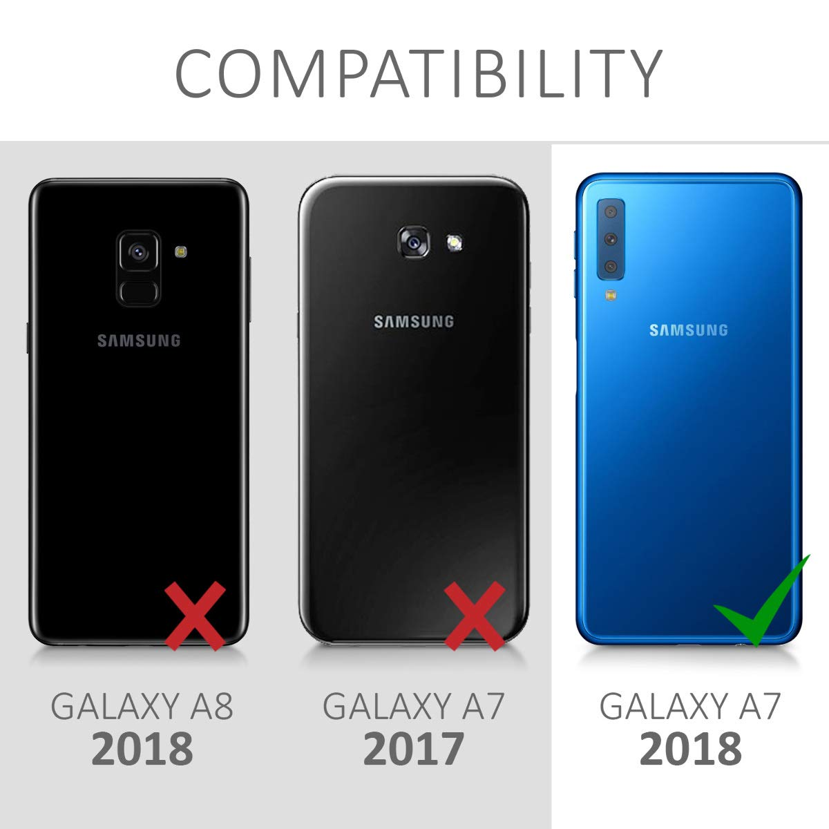 kwmobile Cover for Samsung Galaxy A7 (2018) - [Shockproof] Protective [Full Body] Case with [Screen Protector] - Metallic Black