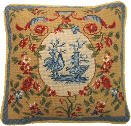- Deluxe Pillows Blue Rooster - 19 x 19 in. needlepoint pillow
