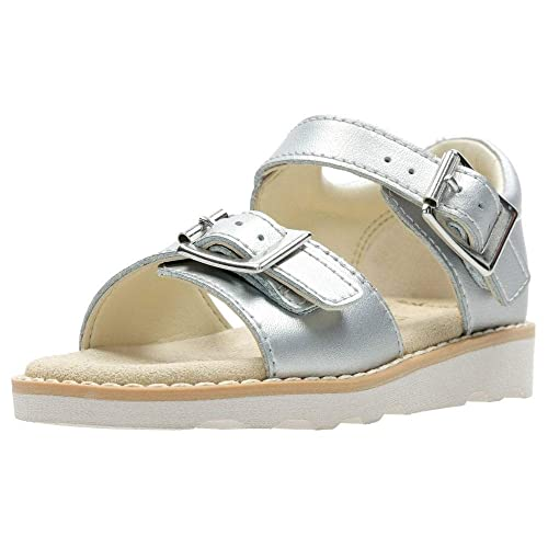 e86222b227f47 Clarks Crown Bloom T Girls First Sandals 6 F Silver: Amazon.co.uk: Shoes &  Bags
