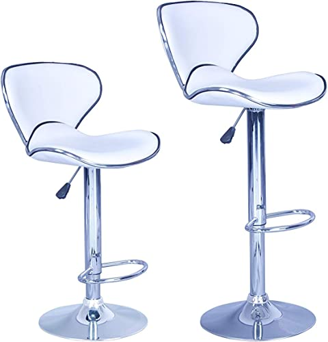 BestOffice New Modern Adjustable Synthetic Leather Swivel Bar Stools Chairs Sets of 2