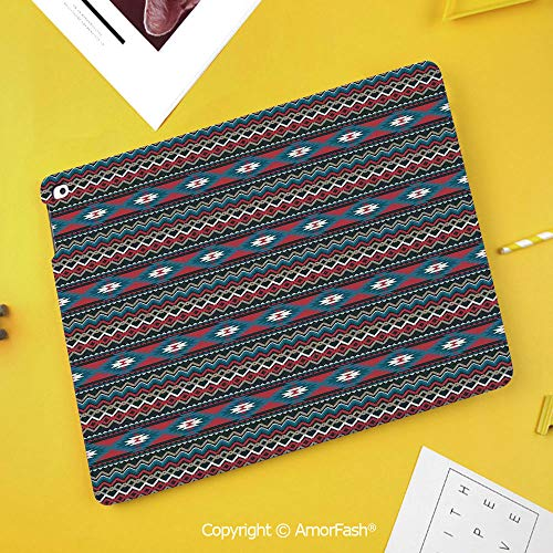 PU Flip Case for Samsung Galaxy Smart TAB S4 10.5 2018 T830 T835 Cover,Native American,Primitive Style Aztec Folkloric Striped Design Antique Maya Patterns,Black Blue Coral ()