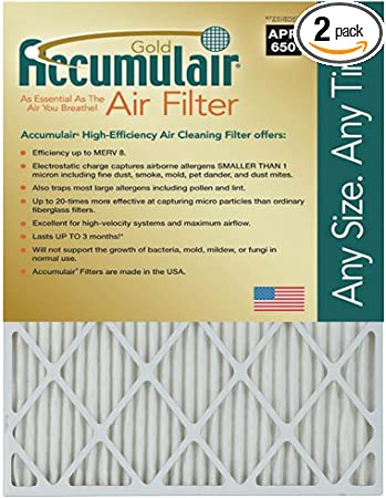 4 LARGE ACCUMULAIR GOLD MERV 8 HOME FURNACE AIR FILTERS PLEATED ALLERGEN