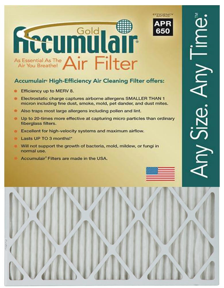 MERV 8 Air Filter//Furnace Filter 2 Pack Actual Size Accumulair Gold 21.25x21.25x1